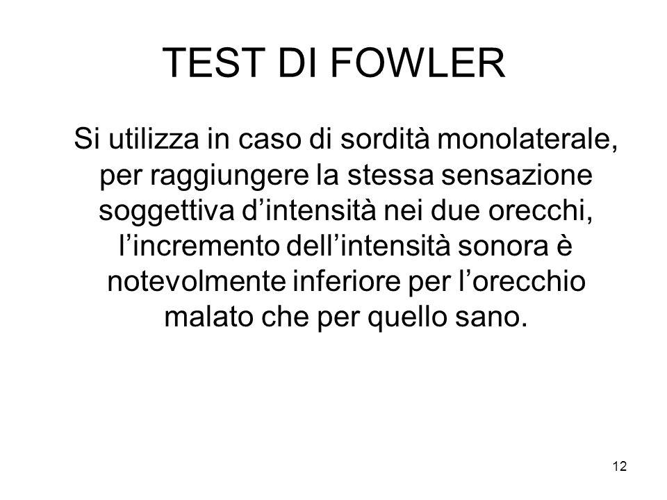 12 TEST DI FOWLER Si utilizza in caso di sordità monolaterale, per raggiungere la stessa sensazione soggettiva d'intensità nei due orecchi, l'incremento dell'intensità sonora è notevolmente inferiore per l'orecchio malato che per quello sano.