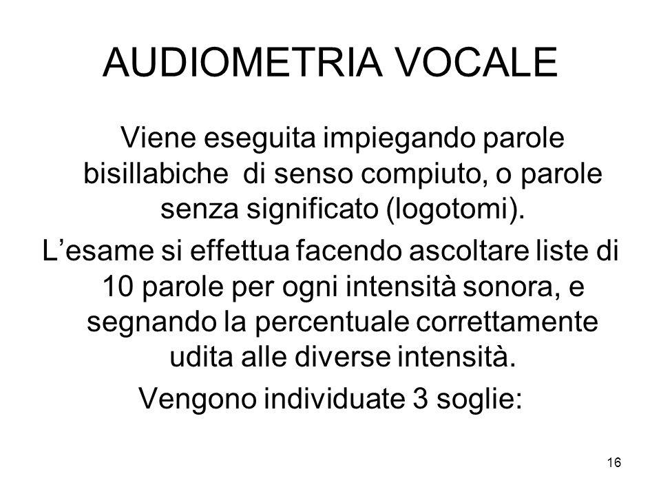 16 AUDIOMETRIA VOCALE Viene eseguita impiegando parole bisillabiche di senso compiuto, o parole senza significato (logotomi).