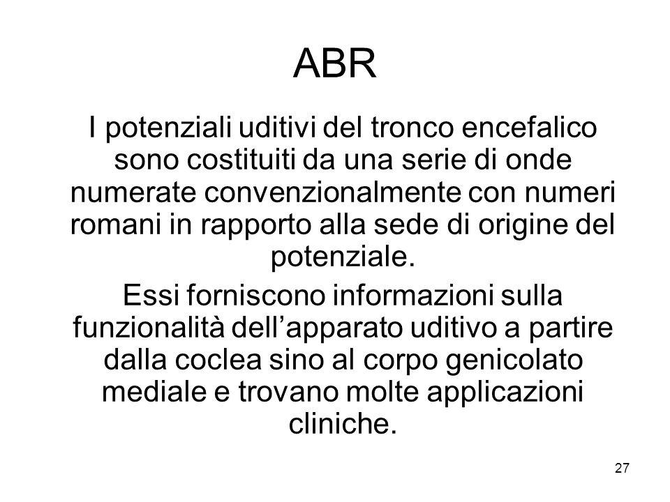 27 ABR I potenziali uditivi del tronco encefalico sono costituiti da una serie di onde numerate convenzionalmente con numeri romani in rapporto alla sede di origine del potenziale.