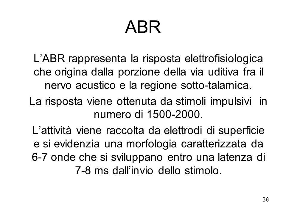 36 ABR L'ABR rappresenta la risposta elettrofisiologica che origina dalla porzione della via uditiva fra il nervo acustico e la regione sotto-talamica.