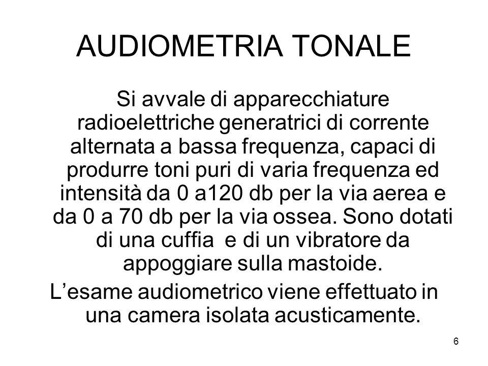 6 AUDIOMETRIA TONALE Si avvale di apparecchiature radioelettriche generatrici di corrente alternata a bassa frequenza, capaci di produrre toni puri di varia frequenza ed intensità da 0 a120 db per la via aerea e da 0 a 70 db per la via ossea.
