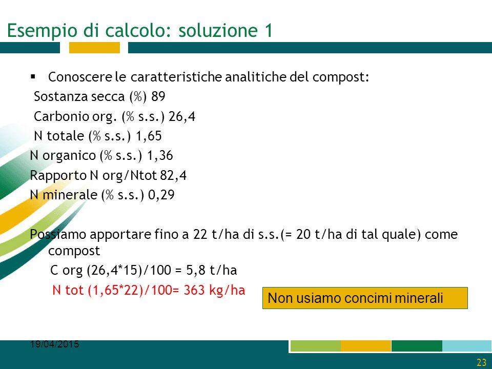 Esempio di calcolo: soluzione 1  Conoscere le caratteristiche analitiche del compost: Sostanza secca (%) 89 Carbonio org. (% s.s.) 26,4 N totale (% s