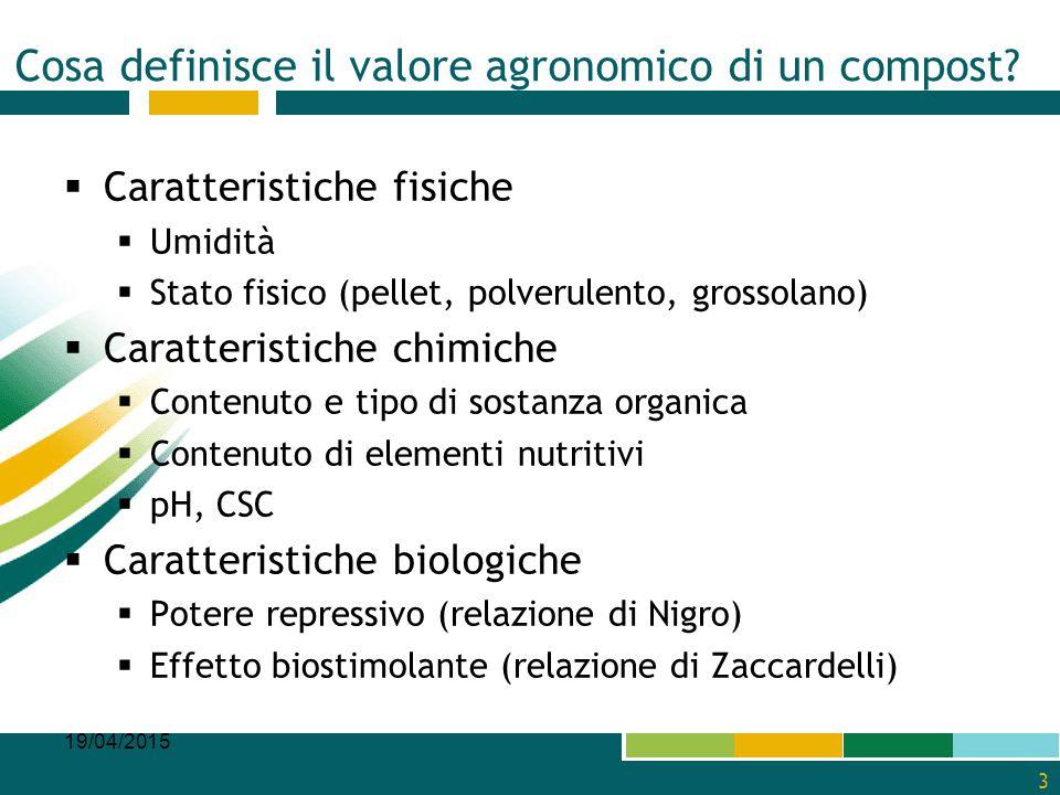Cosa definisce il valore agronomico di un compost?  Caratteristiche fisiche  Umidità  Stato fisico (pellet, polverulento, grossolano)  Caratterist