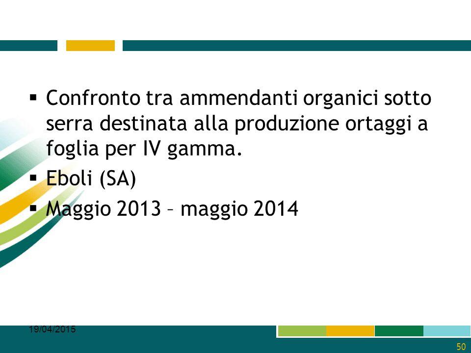  Confronto tra ammendanti organici sotto serra destinata alla produzione ortaggi a foglia per IV gamma.  Eboli (SA)  Maggio 2013 – maggio 2014 19/0