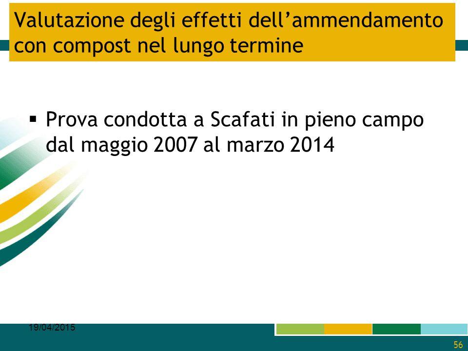 Valutazione degli effetti dell'ammendamento con compost nel lungo termine  Prova condotta a Scafati in pieno campo dal maggio 2007 al marzo 2014 19/0