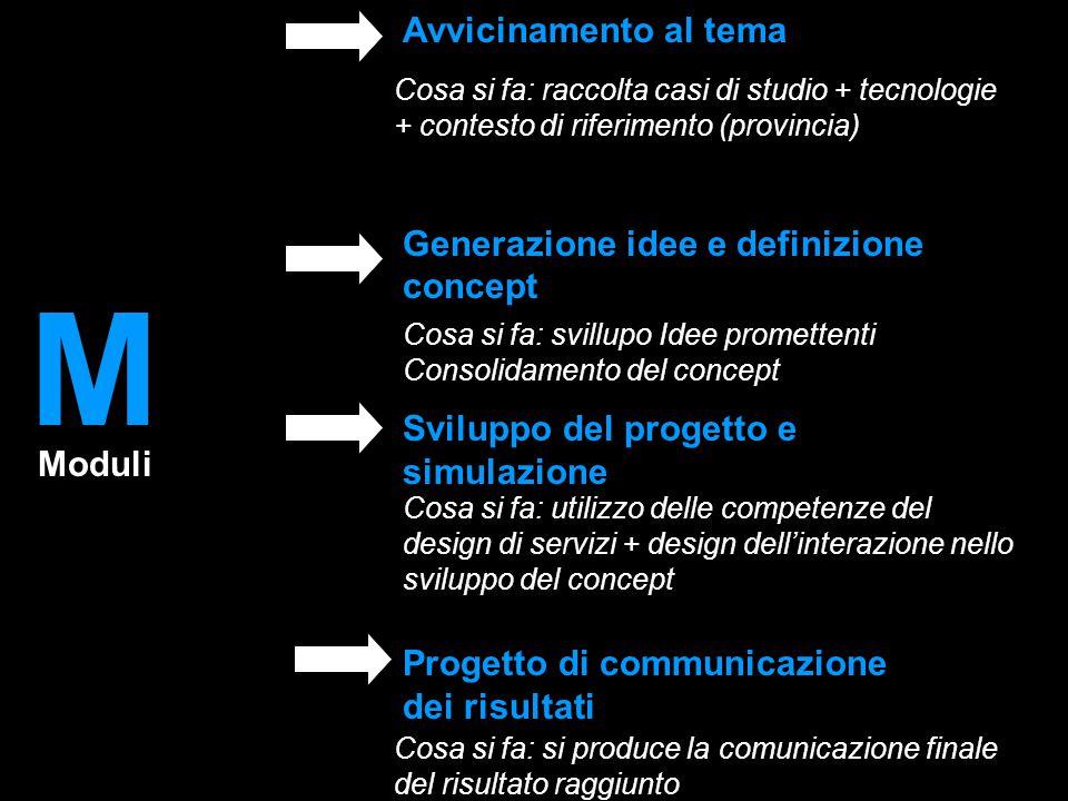 Moduli Cosa si fa: raccolta casi di studio + tecnologie + contesto di riferimento (provincia) Cosa si fa: svillupo Idee promettenti Consolidamento del