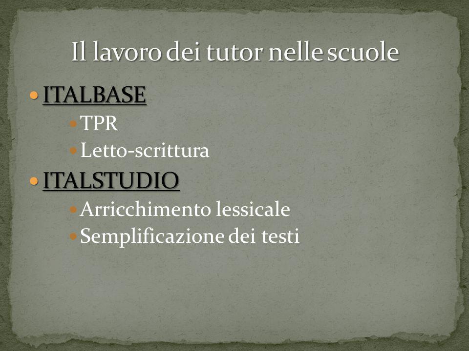 ITALBASE ITALBASE TPR Letto-scrittura ITALSTUDIO ITALSTUDIO Arricchimento lessicale Semplificazione dei testi