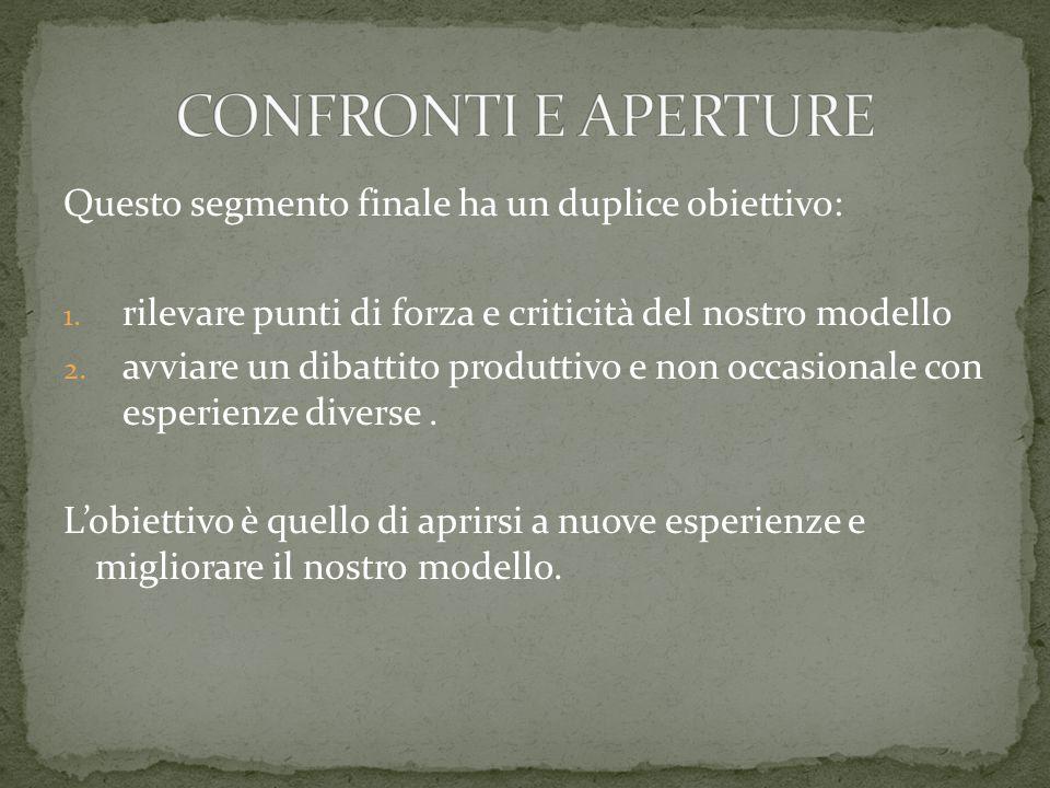 Questo segmento finale ha un duplice obiettivo: 1. rilevare punti di forza e criticità del nostro modello 2. avviare un dibattito produttivo e non occ