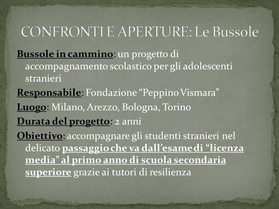 """Bussole in cammino: un progetto di accompagnamento scolastico per gli adolescenti stranieri Responsabile: Fondazione """"Peppino Vismara"""" Luogo: Milano,"""