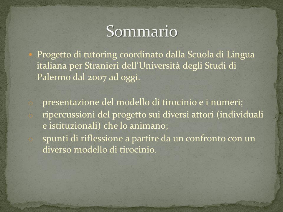 Progetto di tutoring coordinato dalla Scuola di Lingua italiana per Stranieri dell'Università degli Studi di Palermo dal 2007 ad oggi. o presentazione