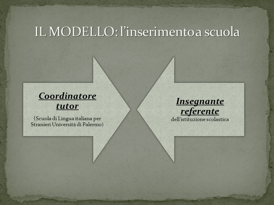 Coordinatore tutor ( Scuola di Lingua italiana per Stranieri Università di Palermo) Insegnante referente dell'istituzione scolastica
