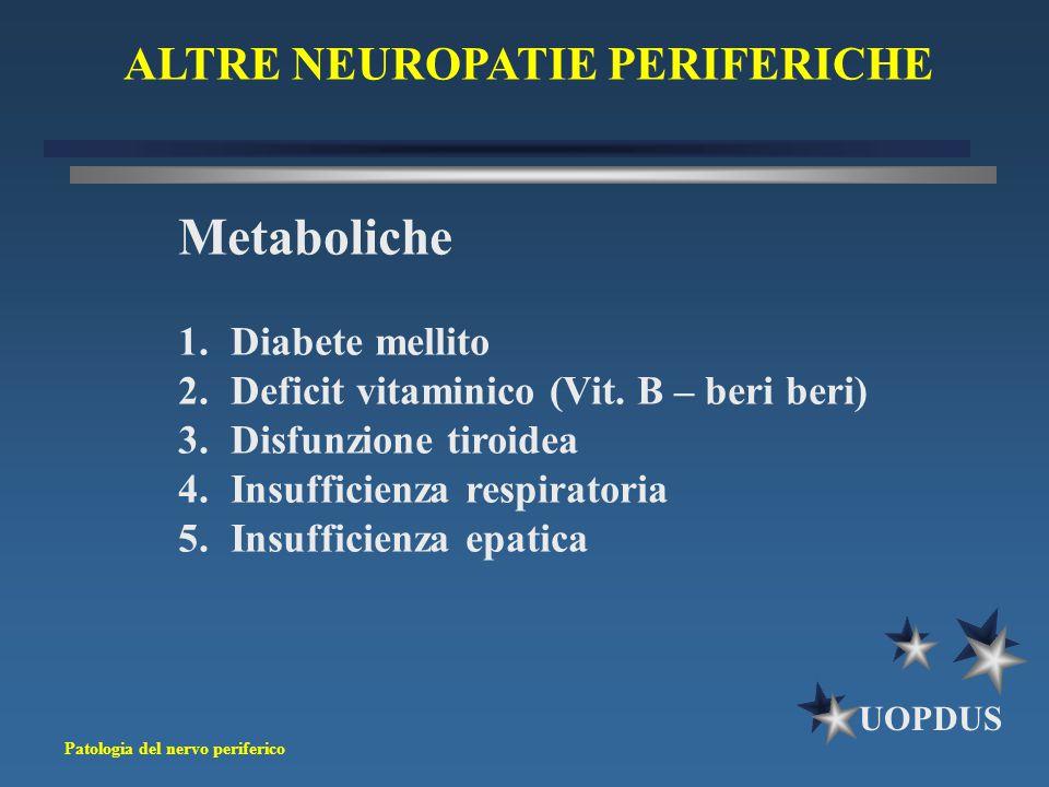 Patologia del nervo periferico UOPDUS ALTRE NEUROPATIE PERIFERICHE Metaboliche 1.Diabete mellito 2.Deficit vitaminico (Vit. B – beri beri) 3.Disfunzio