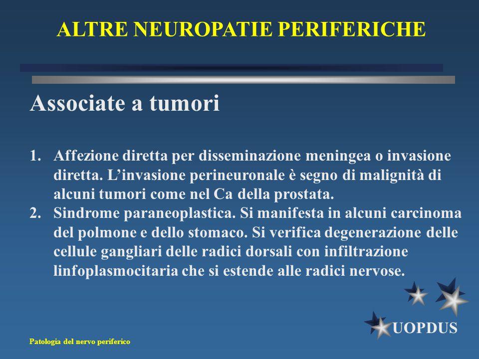 Patologia del nervo periferico UOPDUS ALTRE NEUROPATIE PERIFERICHE Associate a tumori 1.Affezione diretta per disseminazione meningea o invasione dire