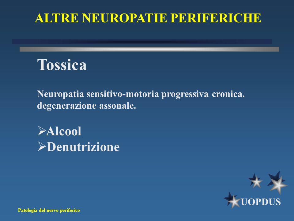 Patologia del nervo periferico UOPDUS ALTRE NEUROPATIE PERIFERICHE Tossica Neuropatia sensitivo-motoria progressiva cronica. degenerazione assonale. 