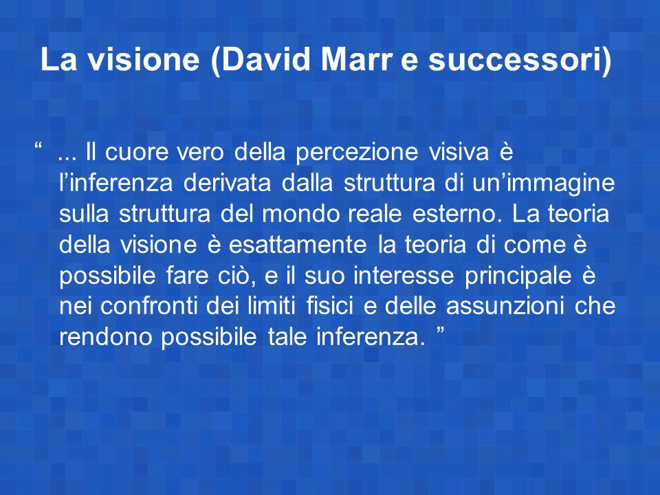 """La visione (David Marr e successori) """"... Il cuore vero della percezione visiva è l'inferenza derivata dalla struttura di un'immagine sulla struttura"""