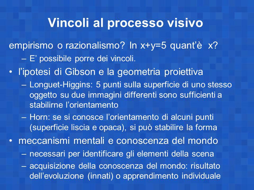 Vincoli al processo visivo empirismo o razionalismo? In x+y=5 quant'è x? –E' possibile porre dei vincoli. l'ipotesi di Gibson e la geometria proiettiv