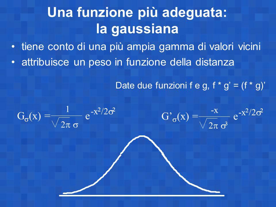Una funzione più adeguata: la gaussiana G  (x) = e -x 2 /2  2 2  1 tiene conto di una più ampia gamma di valori vicini attribuisce un peso in funzione della distanza G'  (x) = e -x 2 /2  2 2  3 -x Date due funzioni f e g, f * g' = (f * g)'