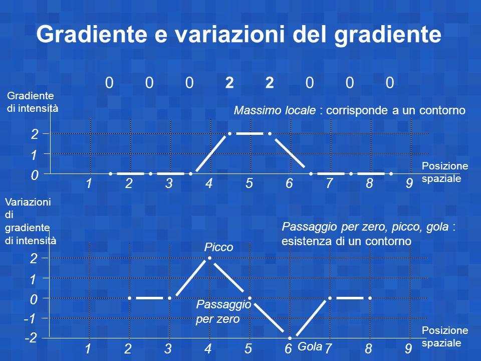 Gradiente e variazioni del gradiente 0002200000022000 1 0 23456789 1 2 Gradiente di intensità 1 0 23456789 1 2 Variazioni di gradiente di intensità Posizione spaziale -2 Picco Gola Passaggio per zero Massimo locale : corrisponde a un contorno Passaggio per zero, picco, gola : esistenza di un contorno Posizione spaziale