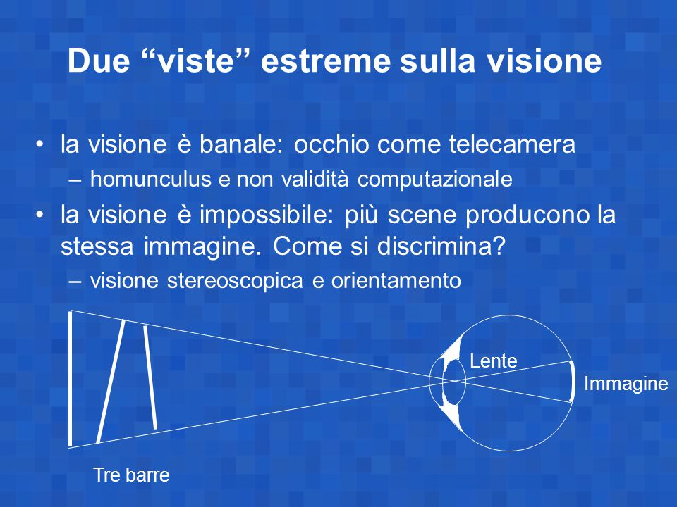 La visione computazionale assunzioni –visione facile per il cervello (meccanismi rapidi e inconsci) –difficile per noi da capire (scarsa capacità introspettiva sulla visione) vantaggio evolutivo –scappare di fronte al predatore –riconoscere la preda applicazione alla visione in un robot