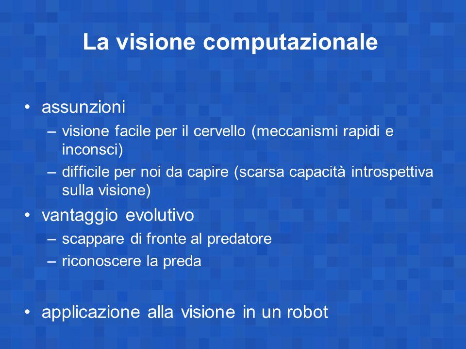 La visione computazionale assunzioni –visione facile per il cervello (meccanismi rapidi e inconsci) –difficile per noi da capire (scarsa capacità intr