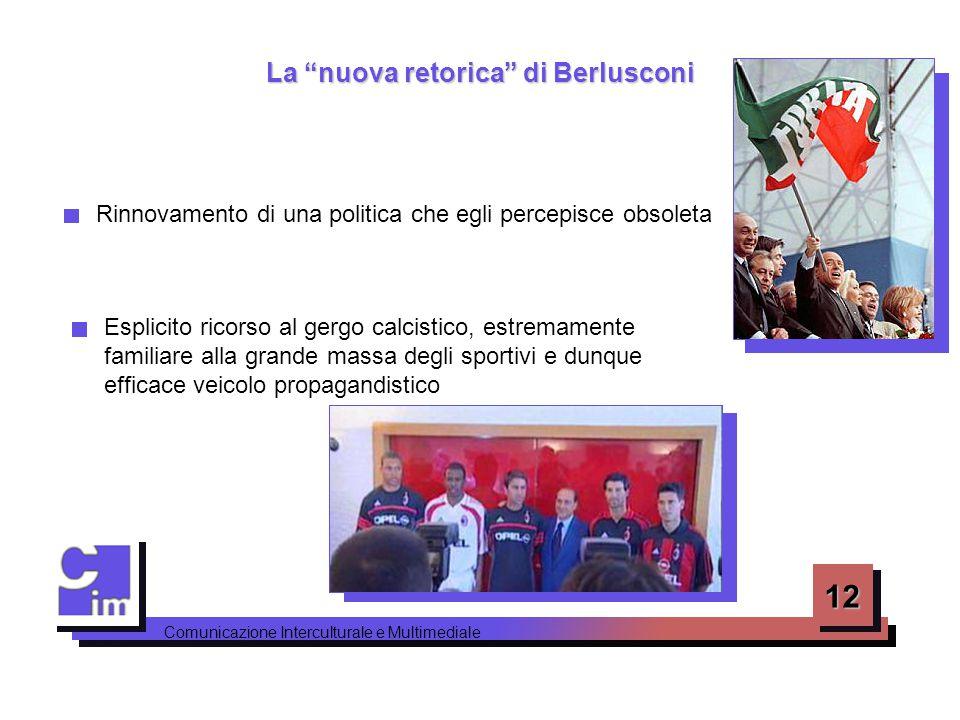 """12 Comunicazione Interculturale e Multimediale La """"nuova retorica"""" di Berlusconi Rinnovamento di una politica che egli percepisce obsoleta Esplicito r"""