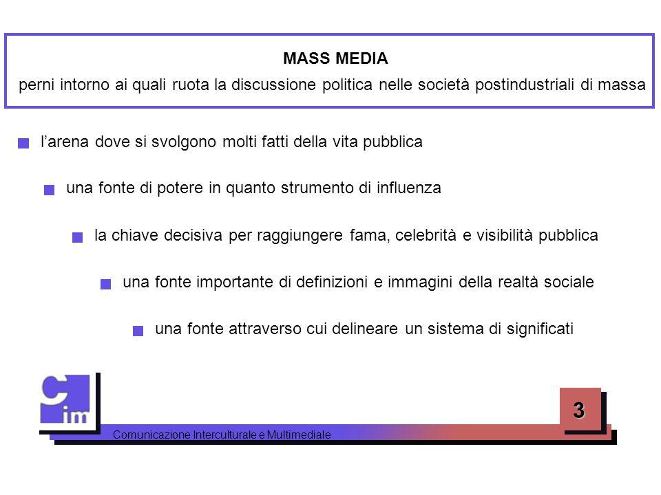 3 MASS MEDIA perni intorno ai quali ruota la discussione politica nelle società postindustriali di massa una fonte di potere in quanto strumento di in