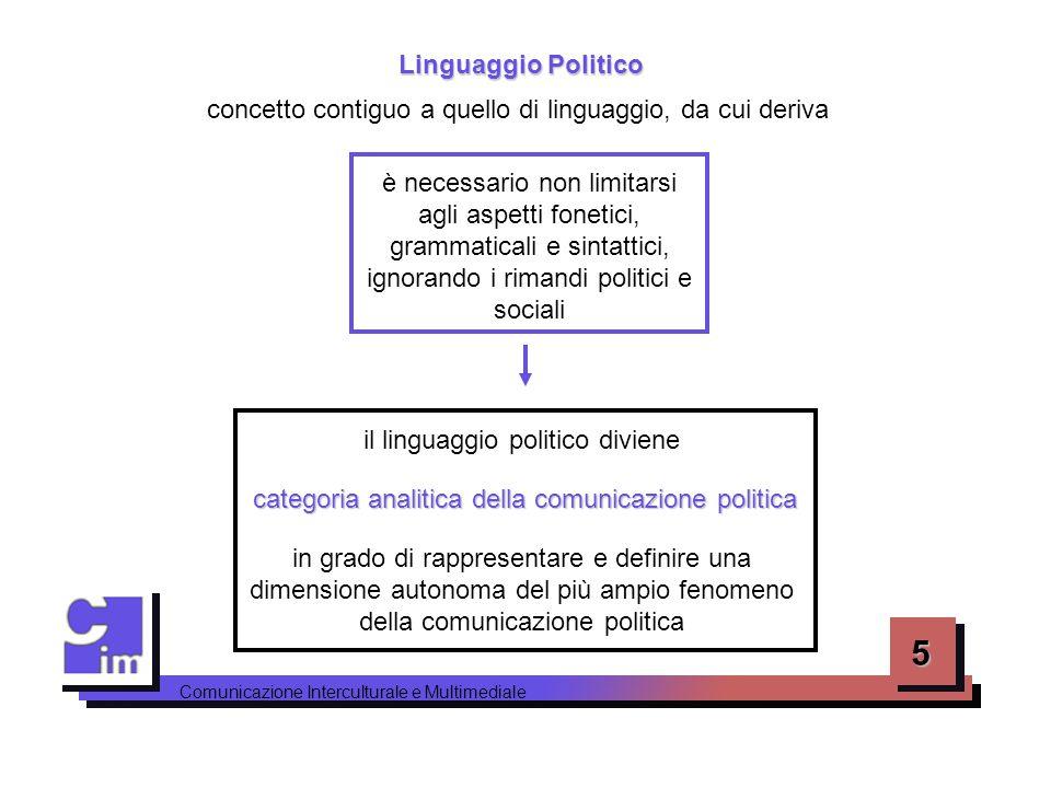 6 Comunicazione Interculturale e Multimediale Un metodo classico dello studio del linguaggio politico, è Analisi delle Corrispondenze Lessicali l' Analisi delle Corrispondenze Lessicali (ACL) esso privilegia le caratteristiche e le funzioni dei singoli lemmi linguistici sintattiche semantiche analizzandone le combinazioni sintattiche e semantiche attraverso tre fasi utilizzofrequenza d'impiego viene registrato l'utilizzo e la frequenza d'impiego delle singole parole-chiave1 classi semantiche vengono analizzate le classi semantiche, ossia degli insiemi lessicali caratterizzati da legami semantici tra i loro elementi 2 proiezione lessicale viene realizzata una proiezione lessicale delle classi semantiche disponendole in un grafico cartesiano che ne evidenzia particolari caratteristiche3