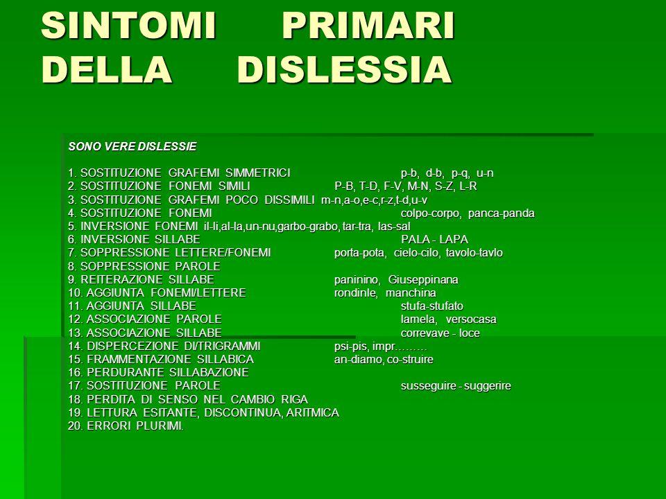 SINTOMI PRIMARI DELLA DISLESSIA SONO VERE DISLESSIE 1.