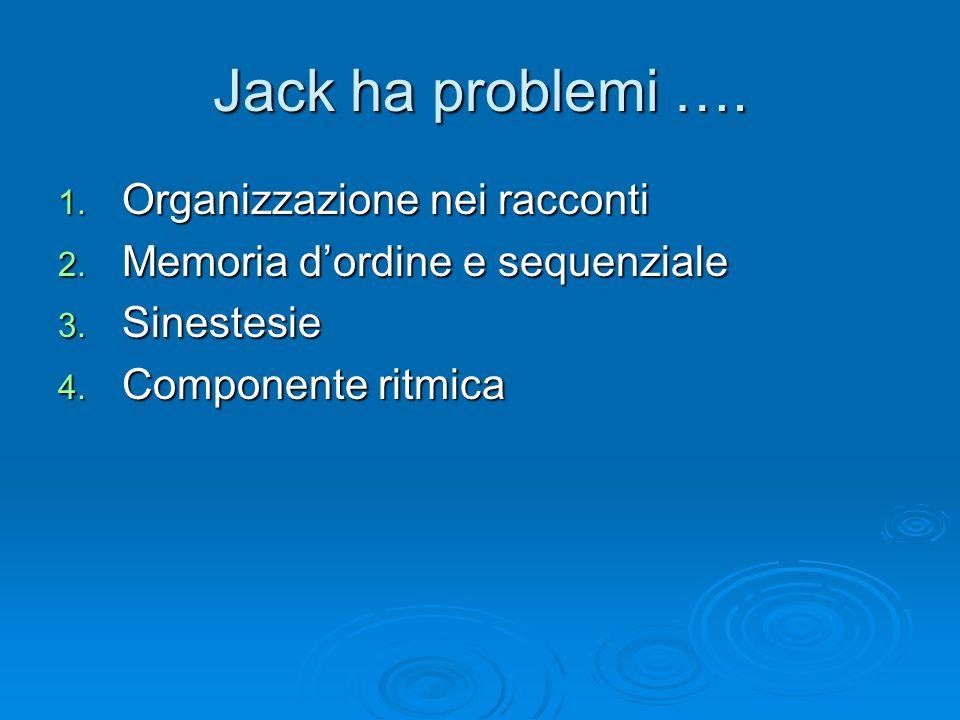 Jack ha problemi …. 1. Organizzazione nei racconti 2. Memoria d'ordine e sequenziale 3. Sinestesie 4. Componente ritmica