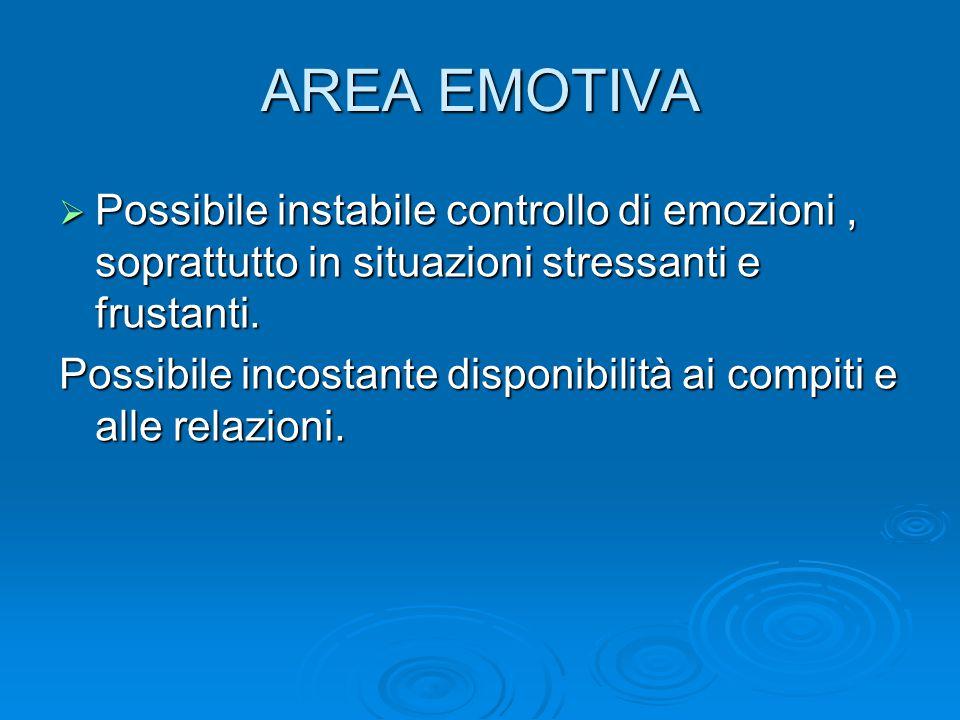 AREA EMOTIVA  Possibile instabile controllo di emozioni, soprattutto in situazioni stressanti e frustanti. Possibile incostante disponibilità ai comp