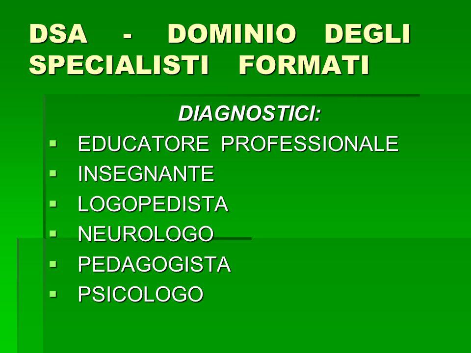 DSA - DOMINIO DEGLI SPECIALISTI FORMATI DIAGNOSTICI:  EDUCATORE PROFESSIONALE  INSEGNANTE  LOGOPEDISTA  NEUROLOGO  PEDAGOGISTA  PSICOLOGO