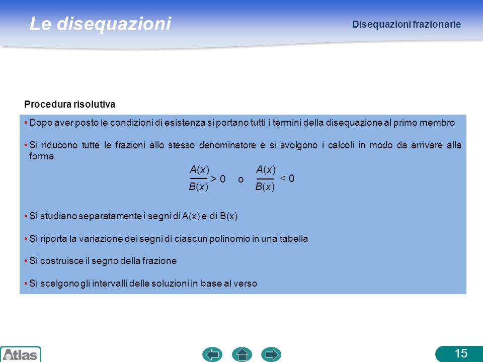 Le disequazioni Disequazioni frazionarie 15 Dopo aver posto le condizioni di esistenza si portano tutti i termini della disequazione al primo membro S
