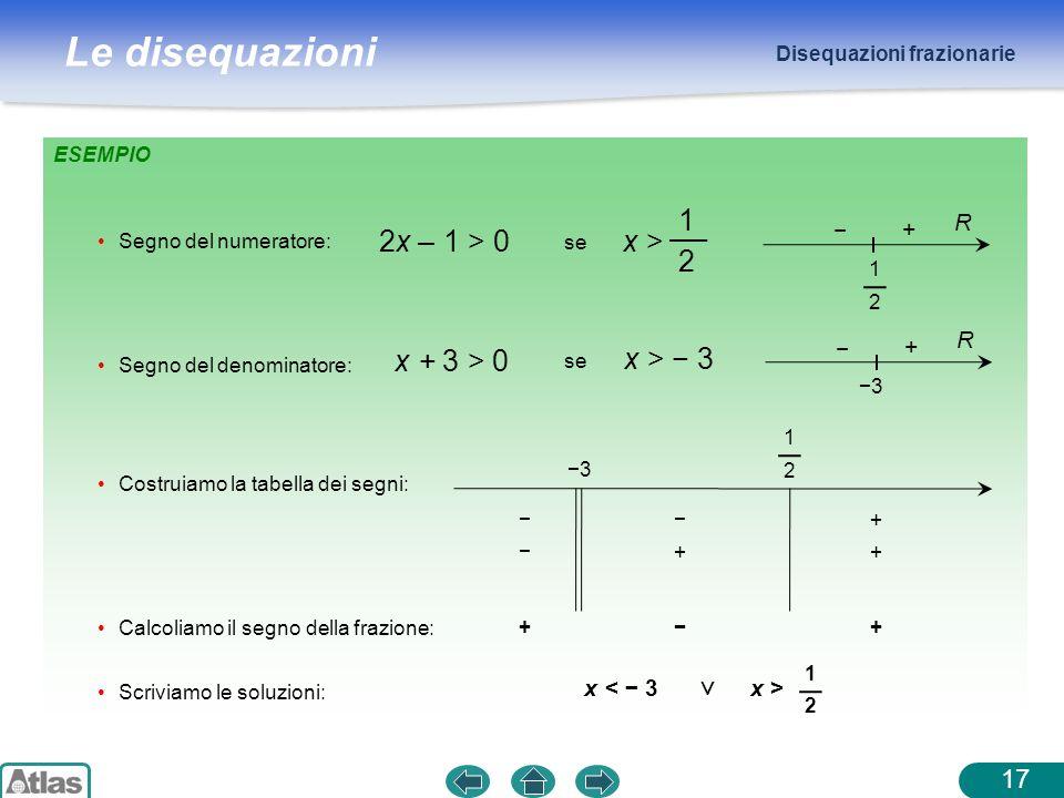 Le disequazioni Disequazioni frazionarie 17 ESEMPIO Costruiamo la tabella dei segni: Segno del numeratore: 2x – 1 > 0 se x > 1 2 1 2 + − R Segno del d