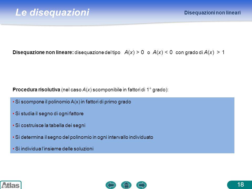Le disequazioni Disequazioni non lineari 18 Disequazione non lineare: disequazione del tipo A(x) > 0 o A(x) 1 Procedura risolutiva (nel caso A(x) scom
