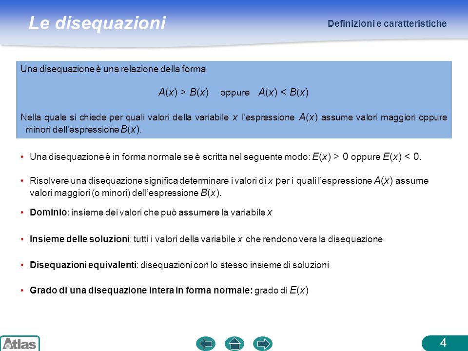 Le disequazioni Definizioni e caratteristiche Disequazione intera: disequazione in cui A(x) e B(x) sono polinomi.