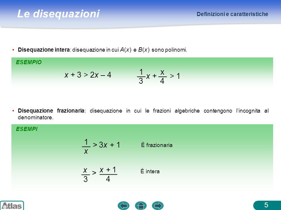 Le disequazioni Definizioni e caratteristiche Disequazione intera: disequazione in cui A(x) e B(x) sono polinomi. Disequazione frazionaria: disequazio