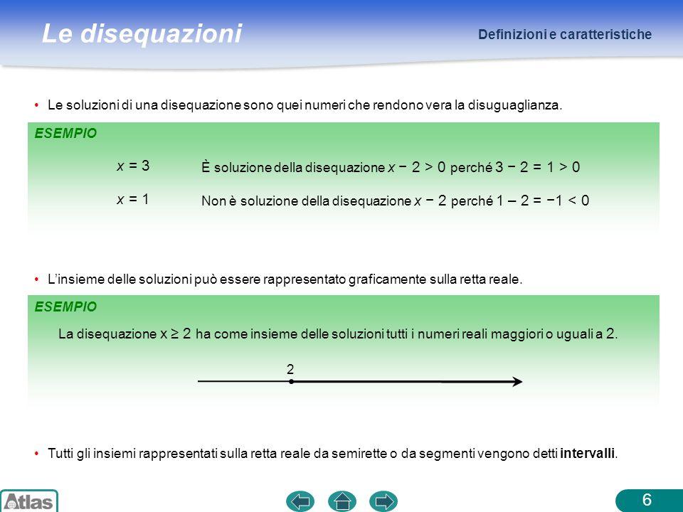 Le disequazioni Rappresentazione delle soluzioni 7 IntervalloScrittura algebrica Rappresentazione sulla retta reale ILLIMITATO APERTO ILLIMITATO CHIUSO ILLIMITATO APERTO ILLIMITATO CHIUSO LIMITATO APERTO LIMITATO CHIUSO LIMITATO APERTO A SX E CHIUSO A DX LIMITATO CHIUSO A SX E APERTO A DX x > a x ≥ a x < a x ≤ a a < x < b a ≤ x ≤ b a < x ≤ b a ≤ x < b a a a a a b a a b ab b