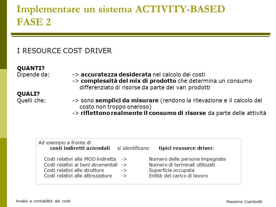 Massimo Ciambotti Analisi e contabilità dei costi Implementare un sistema ACTIVITY-BASED FASE 2 I RESOURCE COST DRIVER QUANTI.