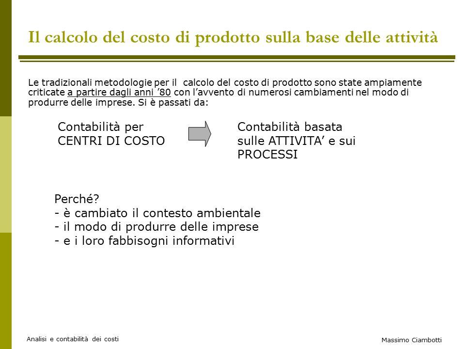 Massimo Ciambotti Analisi e contabilità dei costi Il calcolo del costo di prodotto sulla base delle attività Le tradizionali metodologie per il calcolo del costo di prodotto sono state ampiamente criticate a partire dagli anni '80 con l'avvento di numerosi cambiamenti nel modo di produrre delle imprese.