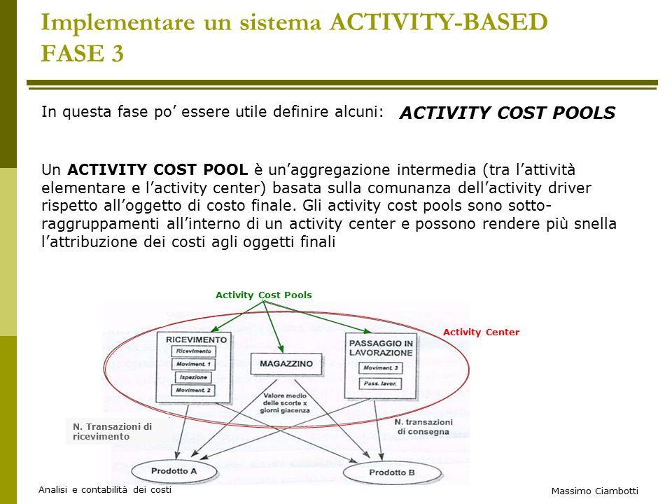 Massimo Ciambotti Analisi e contabilità dei costi Implementare un sistema ACTIVITY-BASED FASE 3 In questa fase po' essere utile definire alcuni: ACTIVITY COST POOLS Un ACTIVITY COST POOL è un'aggregazione intermedia (tra l'attività elementare e l'activity center) basata sulla comunanza dell'activity driver rispetto all'oggetto di costo finale.