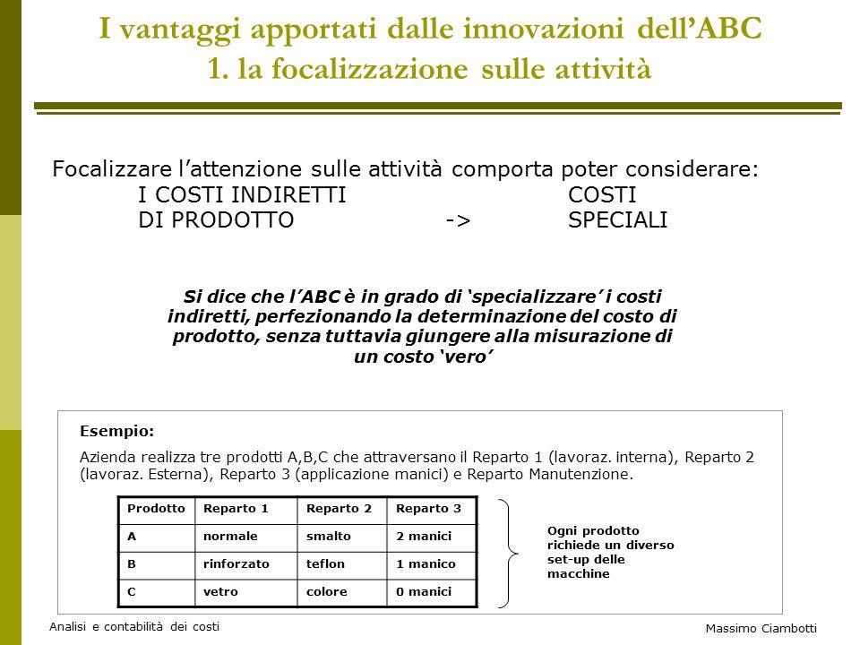 Massimo Ciambotti Analisi e contabilità dei costi I vantaggi apportati dalle innovazioni dell'ABC 1.