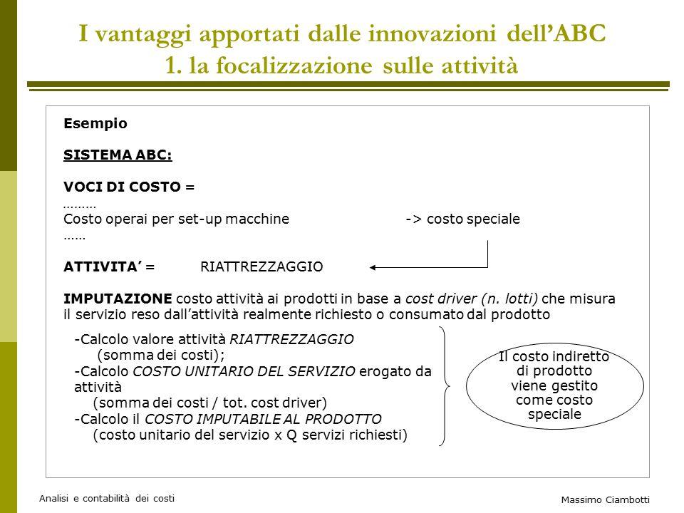 Massimo Ciambotti Analisi e contabilità dei costi Esempio SISTEMA ABC: VOCI DI COSTO = ……… Costo operai per set-up macchine-> costo speciale …… ATTIVITA' = RIATTREZZAGGIO IMPUTAZIONE costo attività ai prodotti in base a cost driver (n.