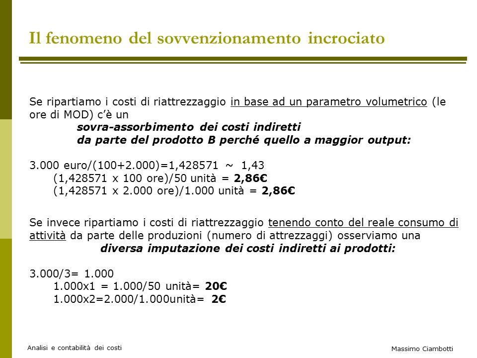 Massimo Ciambotti Analisi e contabilità dei costi Il fenomeno del sovvenzionamento incrociato Se ripartiamo i costi di riattrezzaggio in base ad un parametro volumetrico (le ore di MOD) c'è un sovra-assorbimento dei costi indiretti da parte del prodotto B perché quello a maggior output: 3.000 euro/(100+2.000)=1,428571 ~ 1,43 (1,428571 x 100 ore)/50 unità = 2,86€ (1,428571 x 2.000 ore)/1.000 unità = 2,86€ Se invece ripartiamo i costi di riattrezzaggio tenendo conto del reale consumo di attività da parte delle produzioni (numero di attrezzaggi) osserviamo una diversa imputazione dei costi indiretti ai prodotti: 3.000/3= 1.000 1.000x1 = 1.000/50 unità= 20€ 1.000x2=2.000/1.000unità= 2€