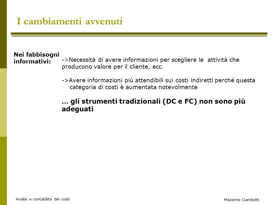 Massimo Ciambotti Analisi e contabilità dei costi I cambiamenti avvenuti ->Necessità di avere informazioni per scegliere le attività che producono valore per il cliente, ecc.