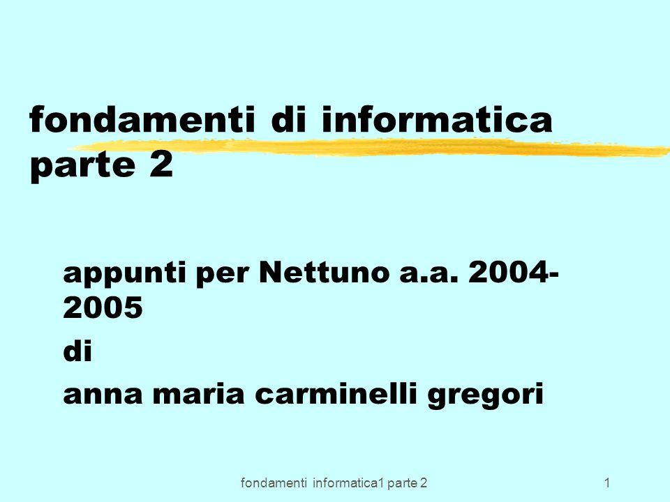 fondamenti informatica1 parte 22 Evoluzione dei S.O.(1970-99) zDa Sistemi a lotti (Batch) a interattivi; zmono-utente mono-programmato; DOS z multi_programmato; Windows 3.x z molti utenti simultanei; z multi_programmato o Windows2000, z multi_tasking e MacOs… z di rete; Unix …VM ….