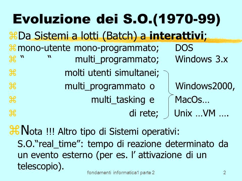 fondamenti informatica1 parte 213 Dos: caratteristiche zIl DOS tradizionale non puo' gestire memoria oltre l' indirizzo 655360 10 =640 K: zper farlo ha bisogno di programmi speciali ossia driver per gestire la memoria espansa e la memoria estesa (oltre 1M).