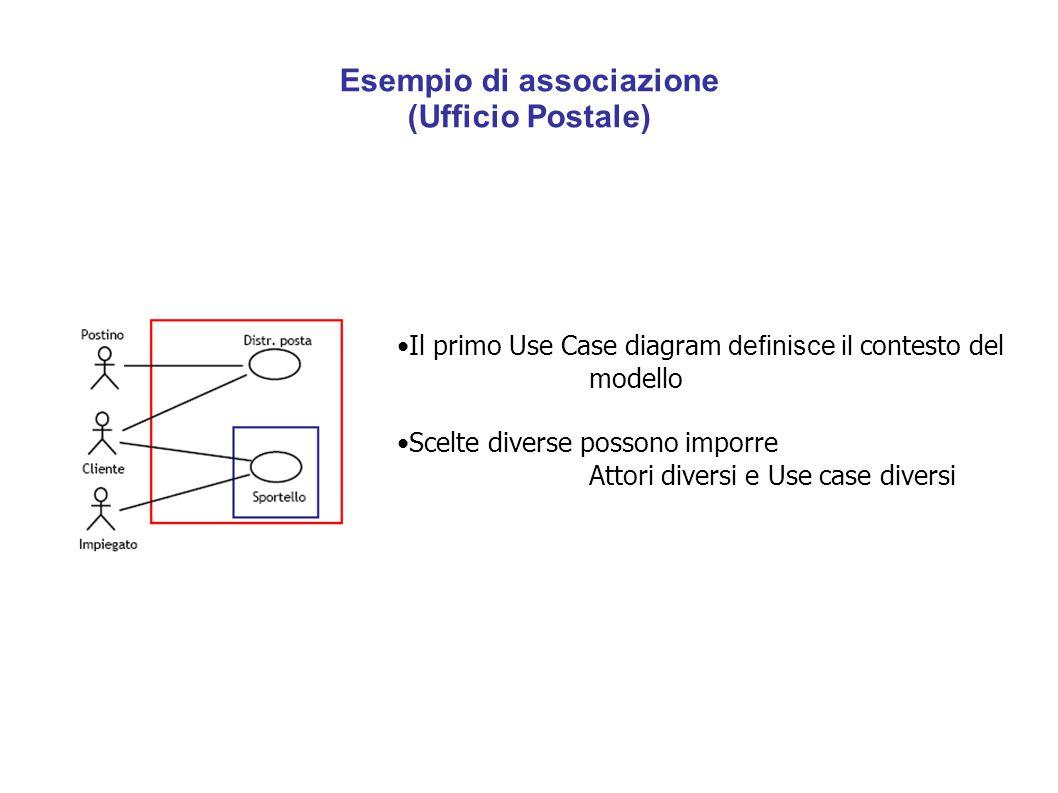 Esempio di associazione (Ufficio Postale) Il primo Use Case diagram definisce il contesto del modello Scelte diverse possono imporre Attori diversi e Use case diversi