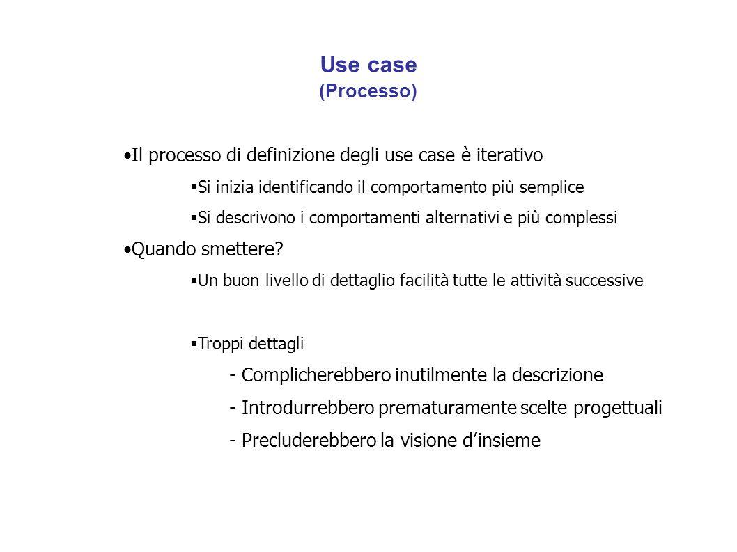 Use case (Processo) Il processo di definizione degli use case è iterativo  Si inizia identificando il comportamento più semplice  Si descrivono i comportamenti alternativi e più complessi Quando smettere.