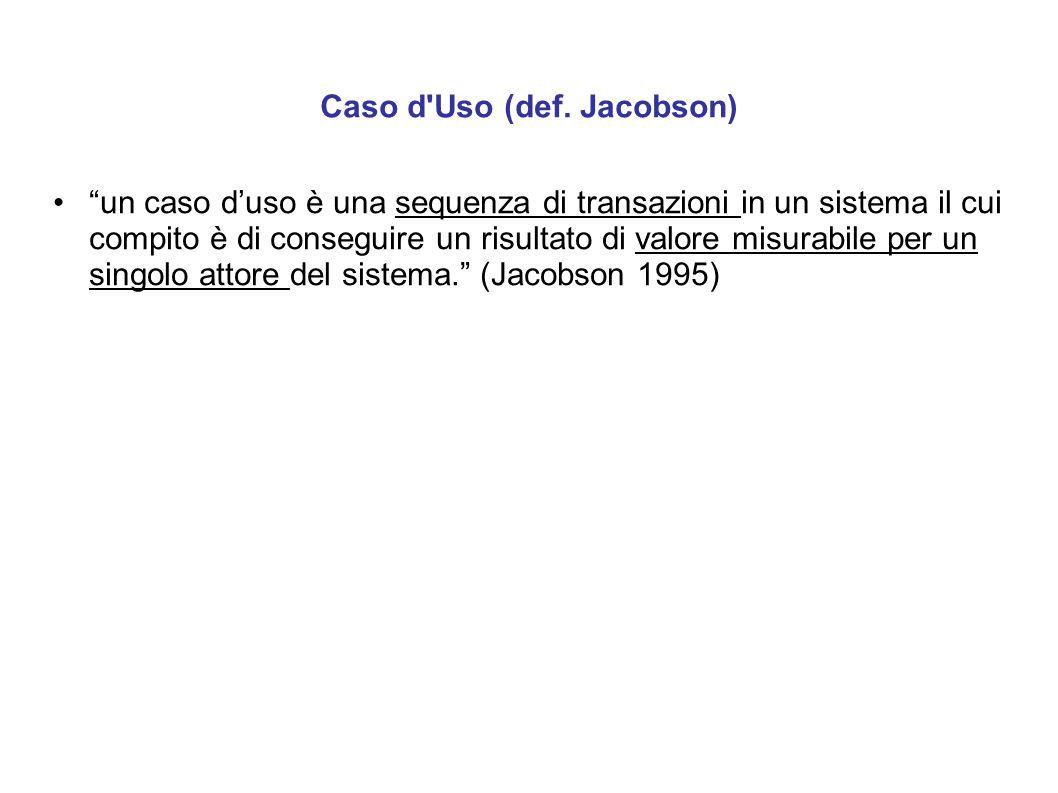 """Caso d'Uso (def. Jacobson) """"un caso d'uso è una sequenza di transazioni in un sistema il cui compito è di conseguire un risultato di valore misurabile"""