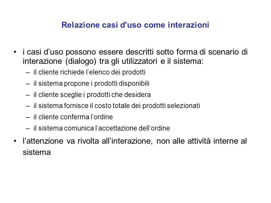 Relazione casi d'uso come interazioni i casi d'uso possono essere descritti sotto forma di scenario di interazione (dialogo) tra gli utilizzatori e il